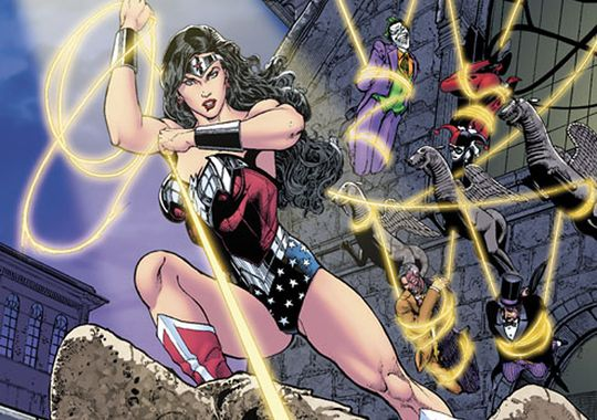 the cover of sensation comics: featuring wonder woman has the hero tying up other comic book villains in her lasso