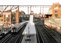 Amtrak & Metro-North Railroad trains are seen at passenger the station in Poughkeepsie, New York, Fall 2002