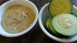 Sweet Mustard Hemp Dip and Cukes