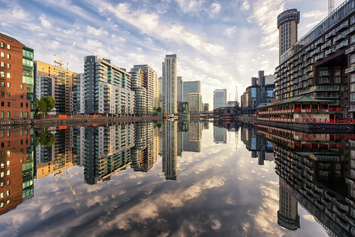 uk morning sky urban reflection london water clouds docks sunrise buildings reflections iso100 mirror boat dock construction cityscape unitedkingdom cranes flats docklands canarywharf 16mm f11 16second millwalldocks millwallinnerdock