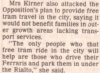 Joan Kirner on free CBD trams, The Age, 11/9/1992