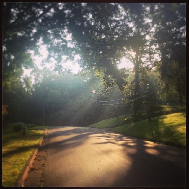 My favorite running weather: sun-dappled.    (Today I accidentally ran 5k, at a pace 1:10 faster than usual, thanks to my playlist.).   #foundwhilerunning