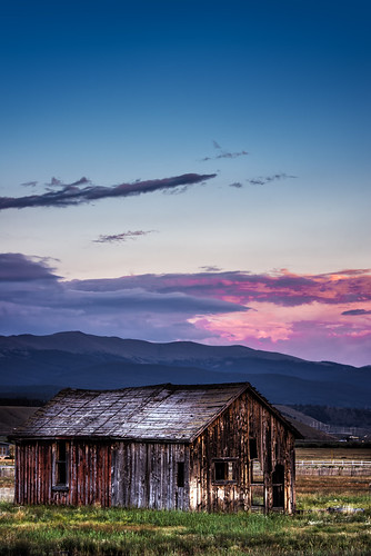 ranch old pink sunset field clouds barn colorado antique co rockymountains pwpartlycloudy