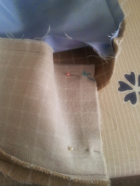 inside view bagged lining sewing facing hem