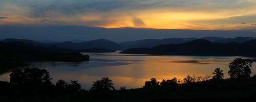 sunset sky sun lake reflection water silhouette canon dusk colourful 500d sentani