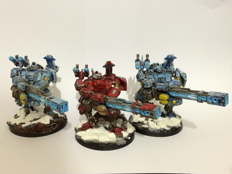 3 Tau Broadsides with Rail Guns, Plasma Guns, and Seeker missiles