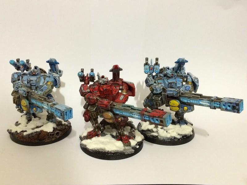 3 Tau Broadsides with Rail Guns, Plasma Guns, and Seeker missiles