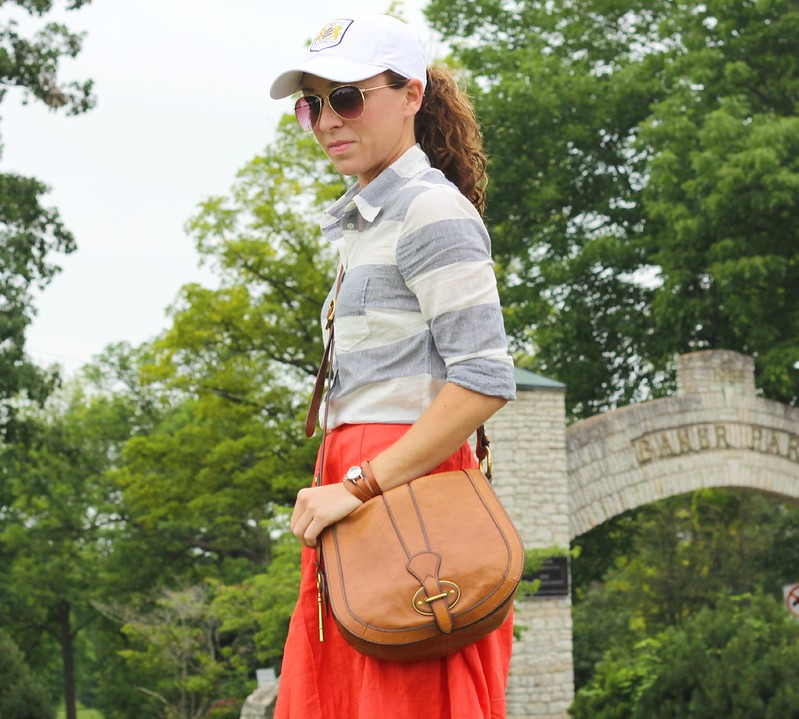 how to wear a baseball cap with skirts via Kristina J blog