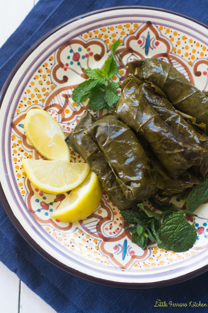 Vegetarian Stuffed Grape Leaves via LittleFerraroKitchen.com