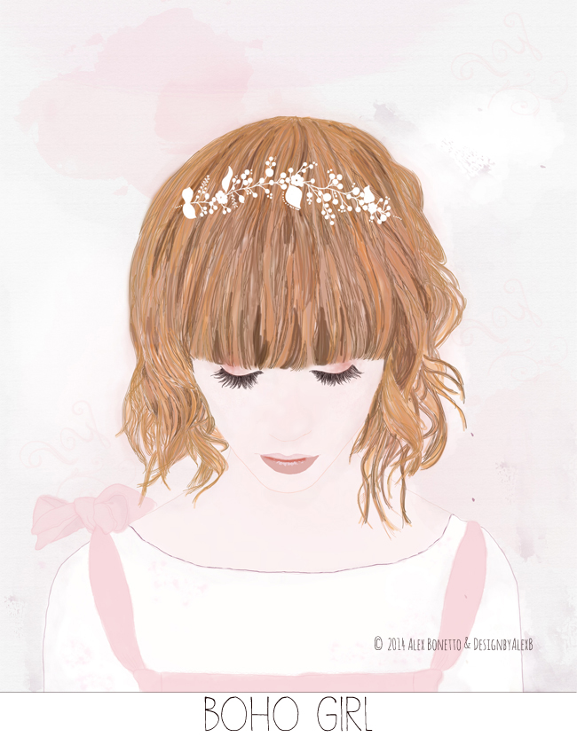 Boho-Girl--illustrazione-ragazza-shabby illustration for sale