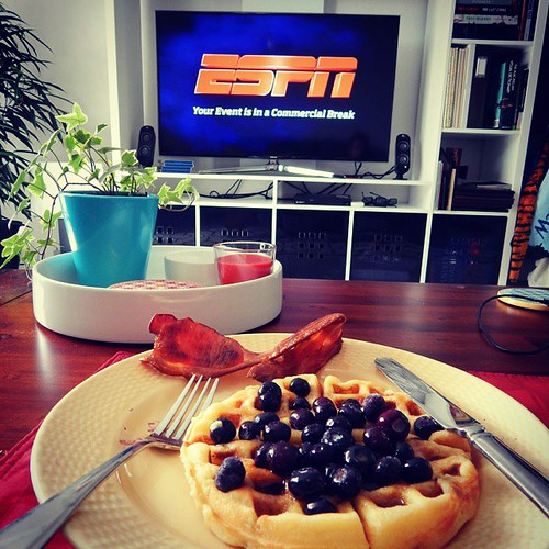 Blueberry waffles, bacon & Mizzou football makes for a pretty perfect Sunday morning! Here's to getting a W today