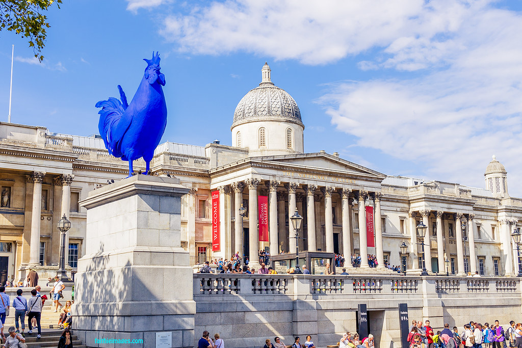 London National Gallery with the temporary blue rooster sculpture