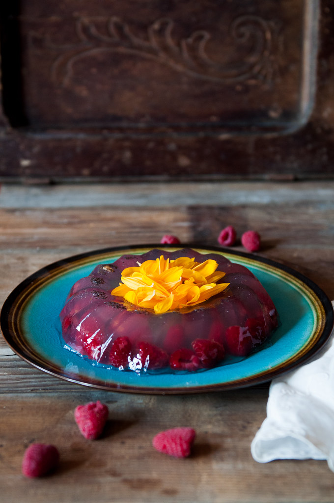 Raspberries in Coconut jelly