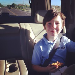 The 10 year old on the way to school. Happy Birthday Max!!