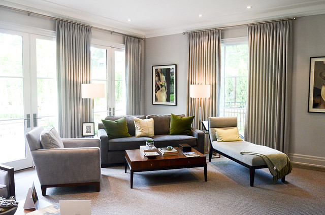 Cozy and modern family room. Princess Margaret Showhome in Oakville