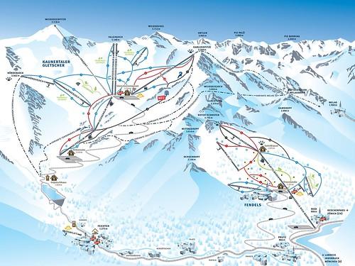 Kaunertaler Gletscher - mapa sjezdovek