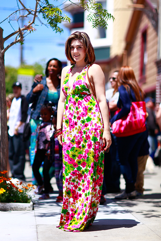 floral_maxi_carnaval street style, street fashion, women, Quick Shots, San Francisco, Harrison Street