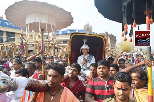 Sri Gajapati Maharaja in a procession to perform rituals of Lord Jagannath in Snana Mandapa