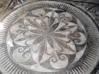 Mosaic floor - House of Triptolemus at Pompeii, recently opened