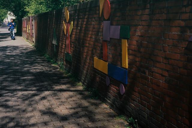 along wall