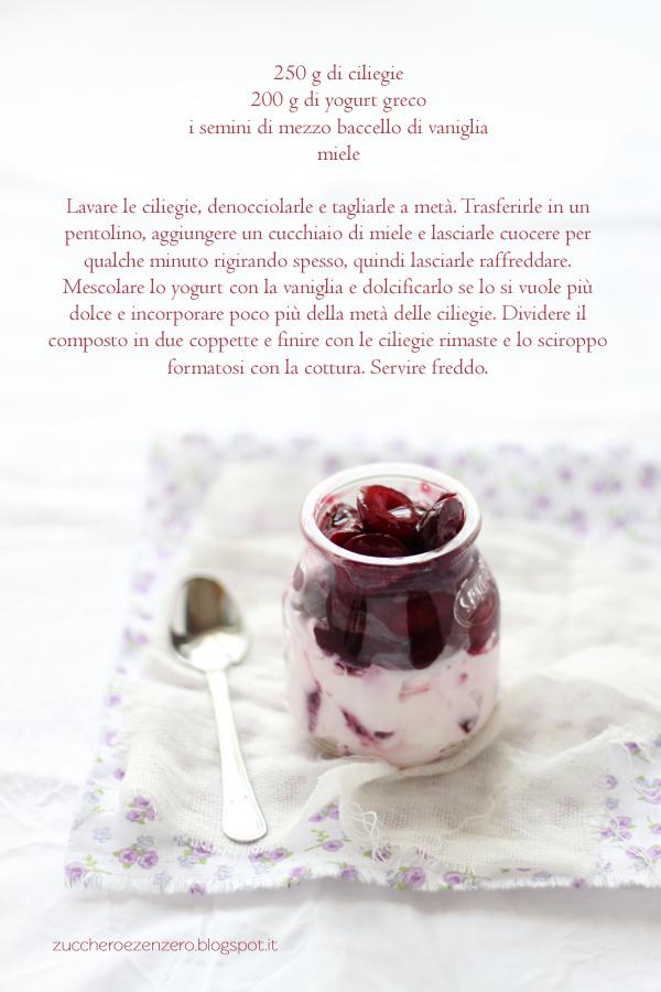 Bicchierini di ciliegie e yogurt greco alla vaniglia
