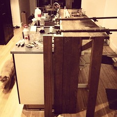 The bar top begins. #gutrehab #designbuild
