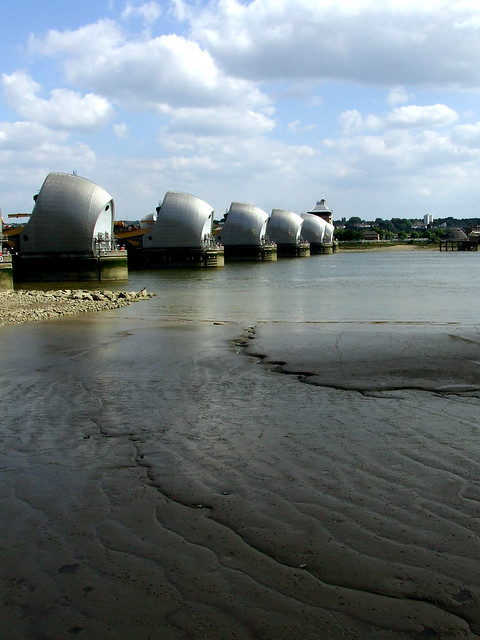 Thames barrier at low tide