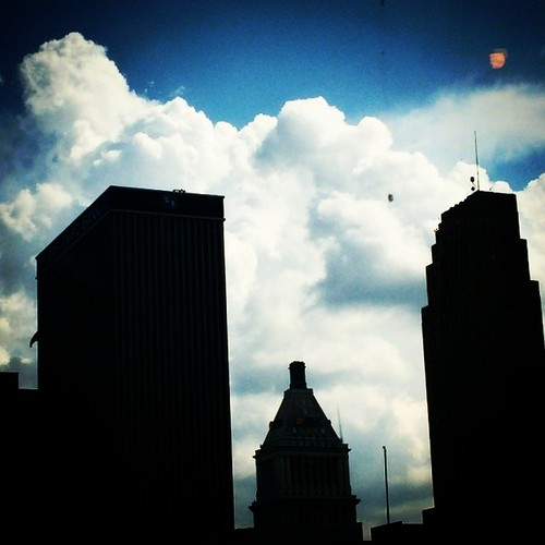 Big white clouds over downtown Cincinnati...
