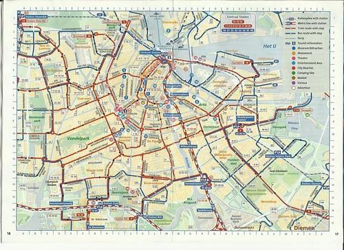 La rete dei mezzi pubblici di Amsterdam