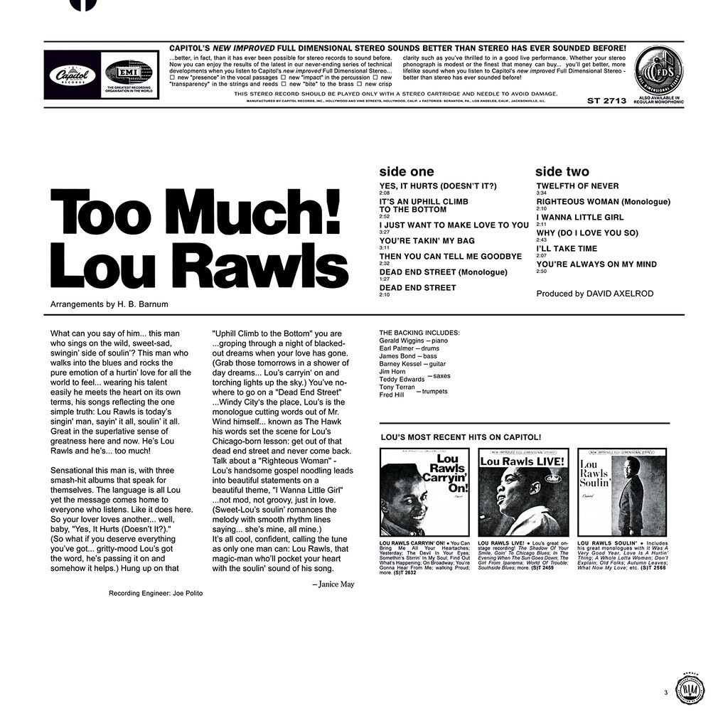 Lou Rawls ‎– Too Much!
