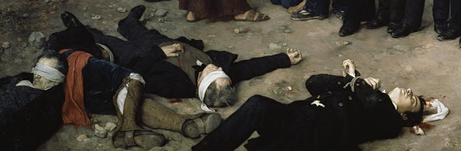 Recorte del cuadro del Museo del Prado, Fusilamiento de Torrijos y sus compañeros en la playa de Málaga
