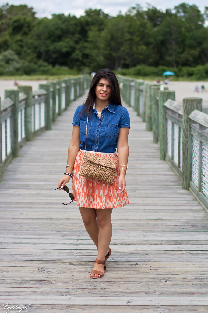 chambray shirt, orange ikat skirt.jpg