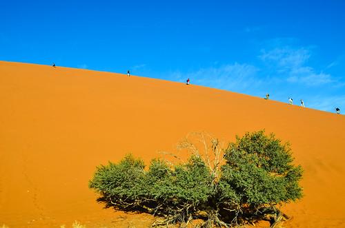 Climbing Dune 45, Sossusvlei, Namibia