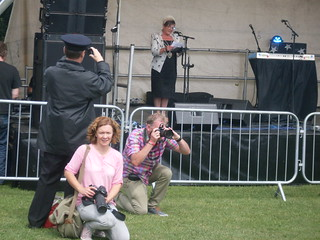 Cllr Pauline Murphy on stage at Plymouth Pride 2014