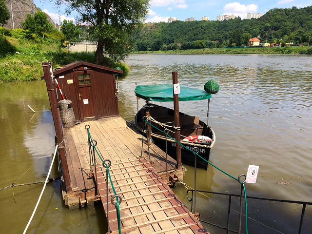Penultimate step in trip to Prague Zoo - Tiny ferry ride