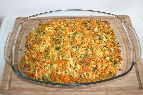 44 - Putenschnitzel mit bunter Gemüsehaube - Fertig gebacken / Vegetable coated turkey escalopes - Finished baking