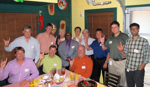 UT PGE alumni located in The Woodlands came together for a happy hour to enjoy Tex-Mex and reminisce about their college days.