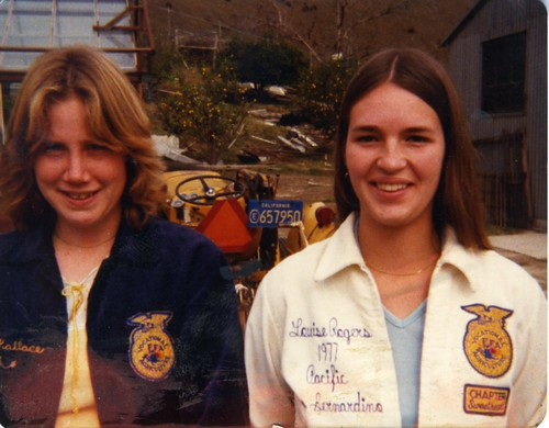Mary Louise Reynnells (right) and Shellie Wallace-Polin in their FFA jackets, 1977.