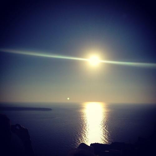 sunset sea sun island view santorini greece oia iphone iphone5 ios7
