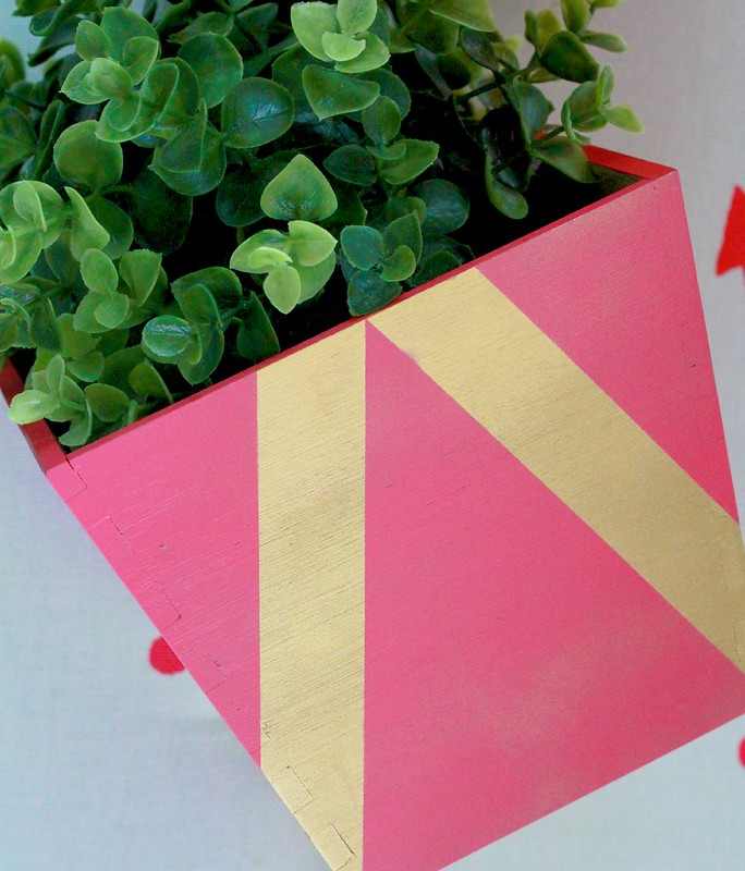 how to make a diy geometric painted planter tutorial via Kristina J blog