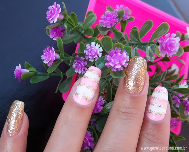 Unhas dourado e rosa 2