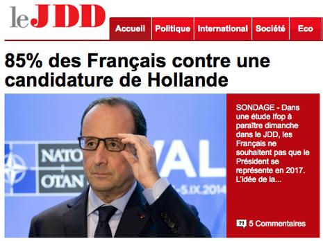 14I07 JDD 85 % franceses contra una candidatura Hollande