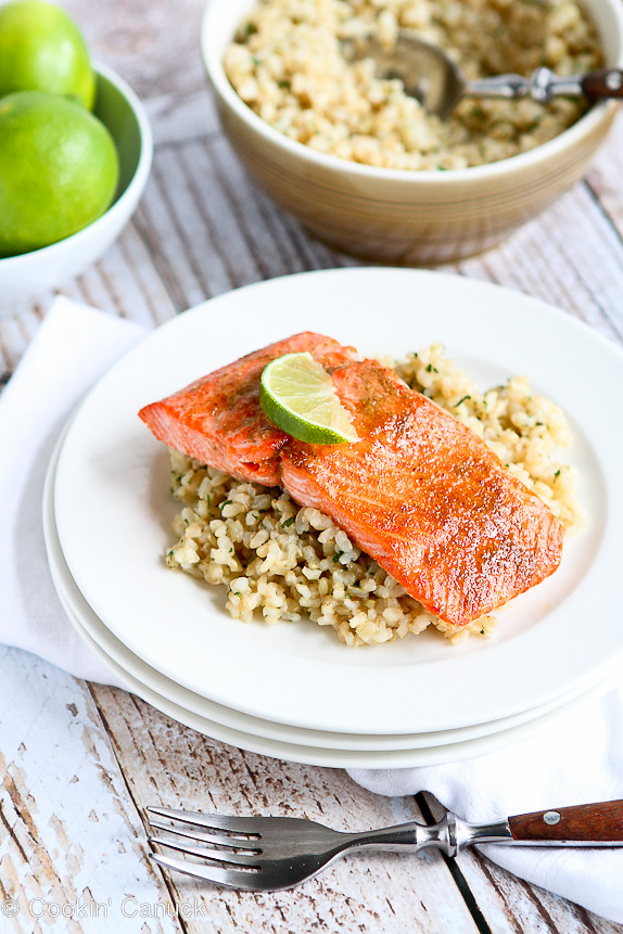Spice Rubbed Lime Salmon Recipe | cookincanuck.com #cleaneating #dinner #glutenfree