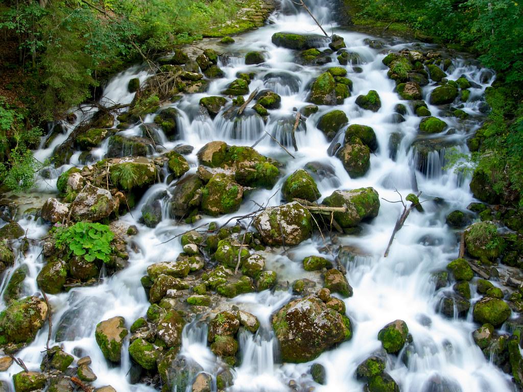 Waterfall in Hieflau, Gesäuse National Park, Styria, Austria