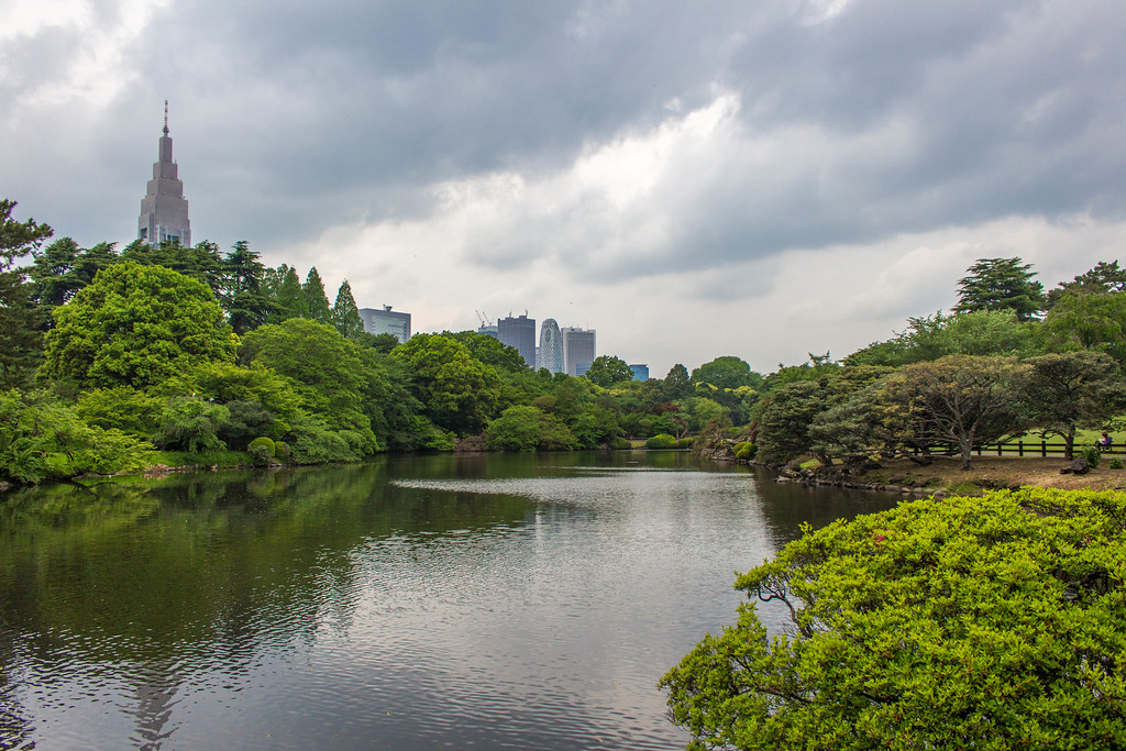 City Views From Shinjuku Gyoen Garden in Tokyo Japan