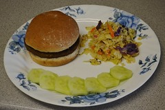 Veggie Burger, Garlic & Ginger Coleslaw and Cu…
