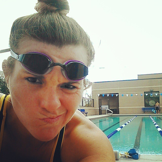 The back up plan. Bun on top of head and old arse goggles :/ #justkeepswimming #triathletesarecrazy #imaz