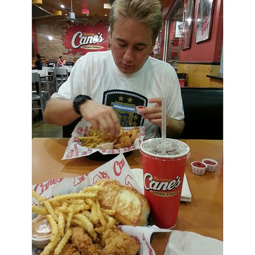 We cOuld eat somewhere fancy or we cOuld eat here and be so happy!  #kingsofleonin30hours #raisingcanes