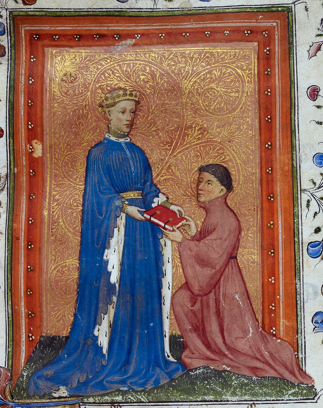 A miniature depicting Henry V, Prince of Wales, offering or receiving a book