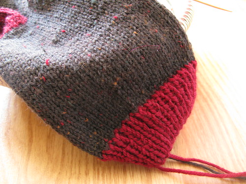 On the needles: brown tweed socks